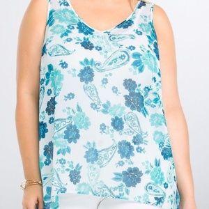 TORRID Top Shirt 2X Paisley Floral Hi Lo Sheer